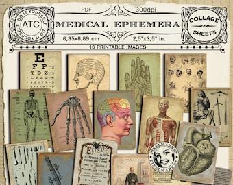 Medical Illustrations Vintage ANATOMY Chart APOTHECARY ADS  Printable Collage Sheet Medicine Backgrounds pdf digital download n228
