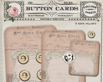 Set of French Vintage BUTTON / JEWELRY Display Cards Printable Download Victorian Holders Jewelry Display PaperCrafts Instant Download 231