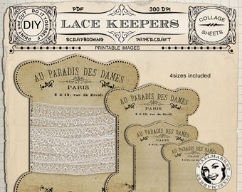 Printable Lace and  Ribbon Keepers Storage Card Thread Spool Card Floss Keeper Instant Download Sepia Shabby Chic French Vintage Ad k06