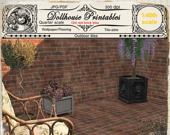 Sensational Dollhouse Wallpaper 1 12Th Old Red Bricks With Ivy Printable Home Interior And Landscaping Mentranervesignezvosmurscom