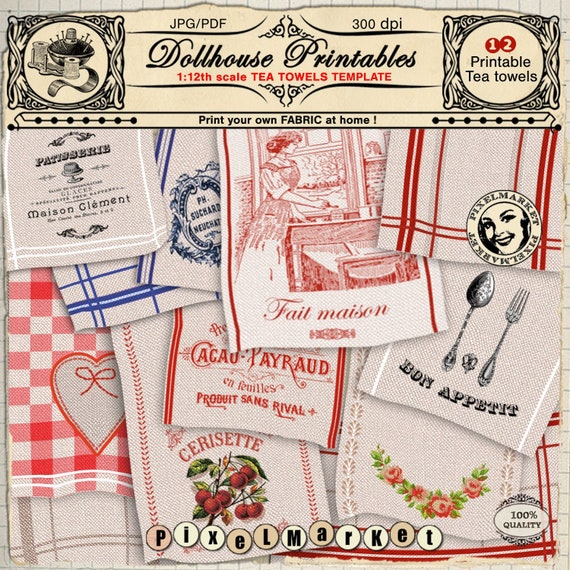 Dollhouse Printable Fabric 1 12th Miniature Kitchen Towel Etsy