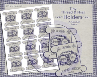 THREAD Spool Cards FLOSS HOLDERS Clip Arts Tiny Keepers Printable Download French Shabby Chic Card DiY Buttons Storage Sepia Ink Blue k09