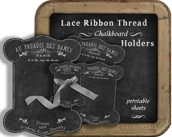 Chalkboard Lace and Ribbon HOLDERS Clipart Printable Download French Vintage Thread Keeper Card Digital Sheet Spool Floss Chalk Black k05