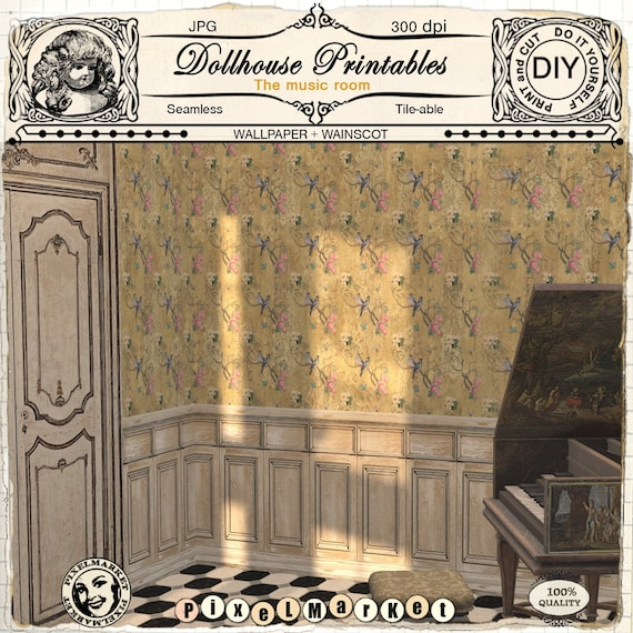 Dollhouse Printables Chinoiserie Wallpaper With White Washed Etsy