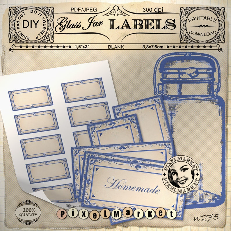 photo relating to Printable Pantry Labels referred to as Printable Pantry Labels Template of 10 Blank Cliparts PDF Obtain Pantry organizer Spices Jar Blue Stickers Standing Tags 275