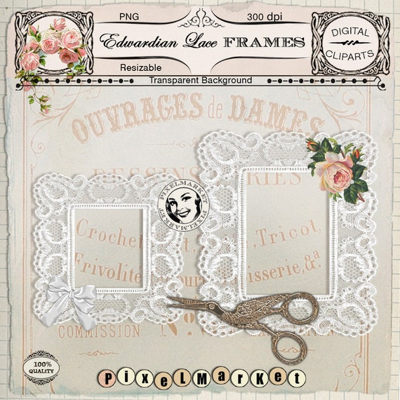 White LACE FRAME ClipArts Printable Download Wedding Frame for | Etsy
