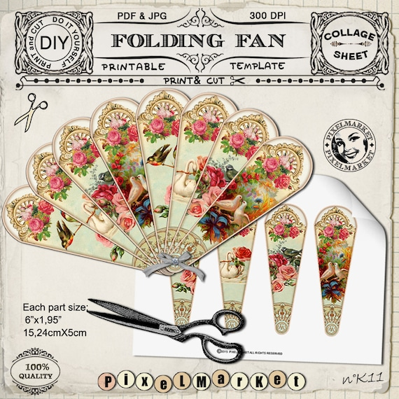 victorian hand fan template printable folding fan diy etsy