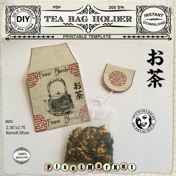 tea bag holder printable japanese tea bag envelope template etsy