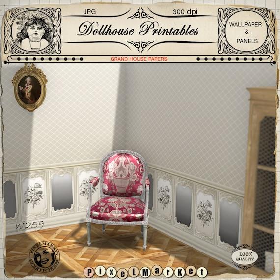 Victorian Dollhouse Wallpaper 1 12th Miniature Printable Etsy
