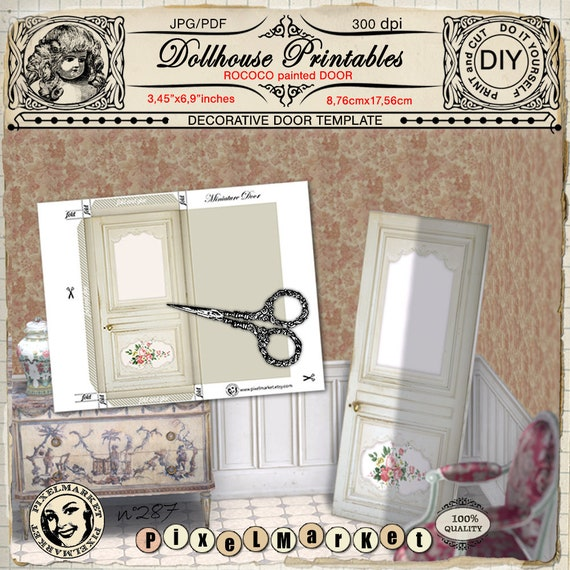Dollhouse Miniature Furniture Roccoco Painted Door Pdf Etsy