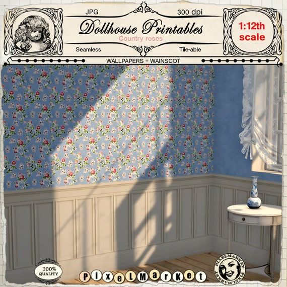 photo about Printable Wallpapers titled DOLLHOUSE Printable WALLPAPERS established with WAINSCOTING Blue Floral wallpaper for 12th miniature dollshouse diorama Electronic sheet obtain