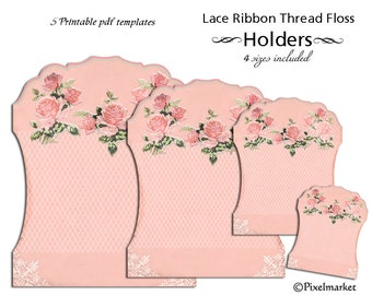 Printable Lace Ribbon HOLDERS Clipart Lace Keeper Template Thread Storage Card Digital Sheet Download DIY PaperCraft Floss Spool Bobbin k01