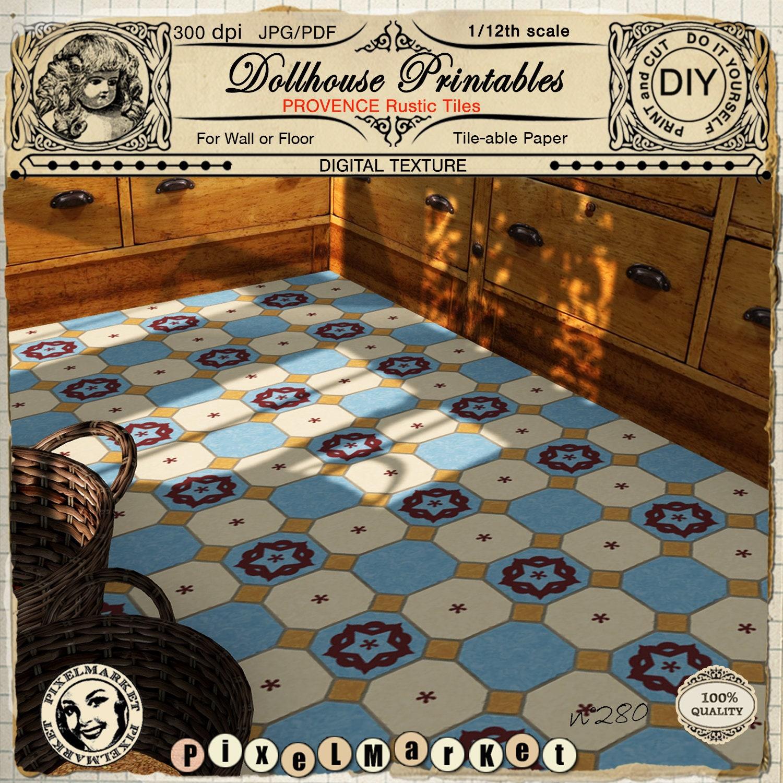 DOLLHOUSE Miniature 1:12 Flooring Blue Rustic Ceramic