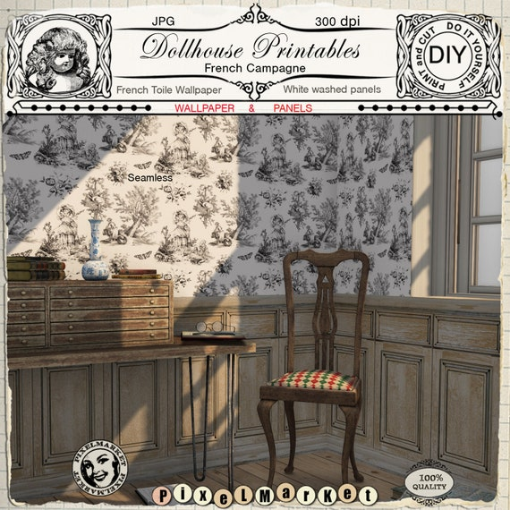 Dollhouse Wallpaper French Toile W White Washed Wood Panels Etsy