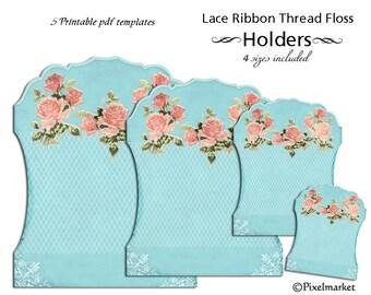 Lace Keepers Clipart Ribbon Holder Thread Storage Card Digital Sheet Printable Download DIY PaperCraft Floss Spool Bobbin Blue k10