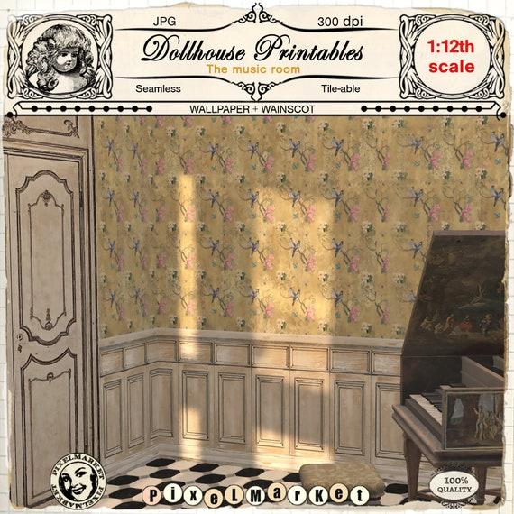 2 Panel Design Dollhouse Miniature Wainscot 1:12 Scale