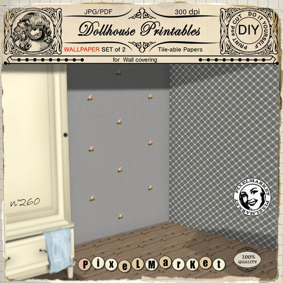 1 12 Dollhouse Set Of 2 Wallpapers Printable Download Gray Etsy