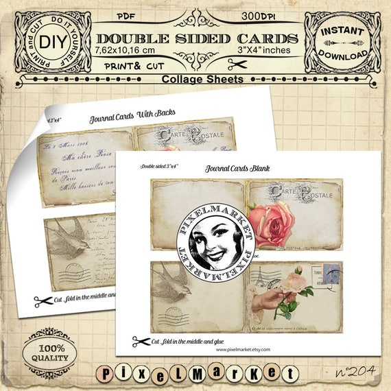 French vintage Postcards PRINTABLE STATIONERY Journal cards Folded card  Collage Sheet Instant Download Scrapbooking DIY Papercraft Tag n204