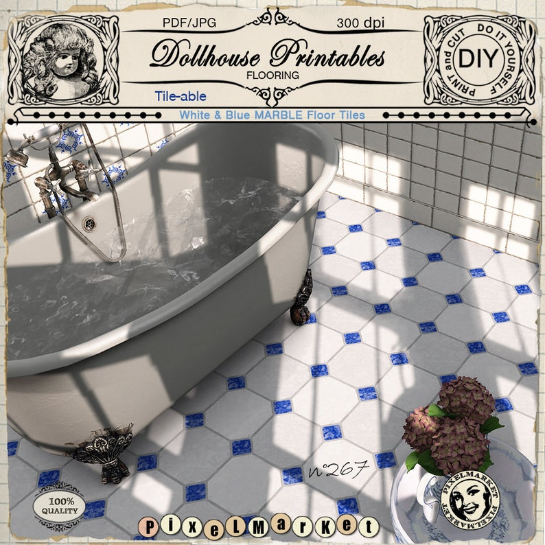 graphic about Miniature Dollhouse Printable Floors identify DOLLHOUSE printable Ground wallpaper for 1/12 miniature white blue marble area tile Electronic down load for dolls household diorama roombox