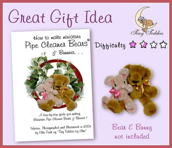 Pipe Cleaner Craft Book How to Make Miniature Bear /& Bunny Doll house ooak