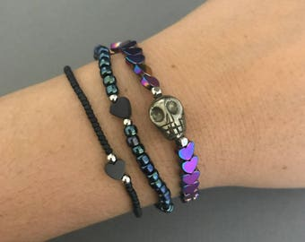 Cosmic Galaxy Bracelet Stack, Cosmic Silver Bracelet 3 Stack, Heart Bracelet Stack, Lisa Frank Jewelry, Delicate Bracelets, 90s Jewelry