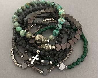 Earthy Turquoise Bracelet Stack, Elliot Silver Bracelet 8 Stack, Skull Bracelets, Fall Bracelets, Fall Gifts,