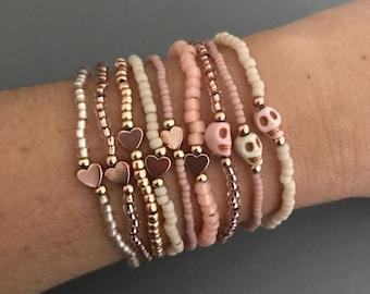 14k Rose Gold Skull and Heart Bracelet Set, Betty Rose Gold Bracelet 12 Stack, Pink Rose Gold Bracelets, Tiny Skull Bracelets, Gifts for Her