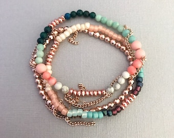 Summer Rose Gold Bracelets, Bronte Rose Gold Bracelet 3 Stack, Rose Gold Jewelry, Gifts for Her, Summer Jewelry