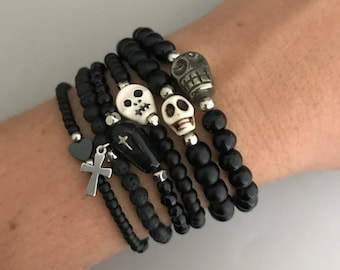 Black Goth Bracelets, Graveyard Silver Bracelet 6 Stack, Black Halloween Bracelets, Witch Bracelets, Skull Bracelets, Gypsy Bracelet