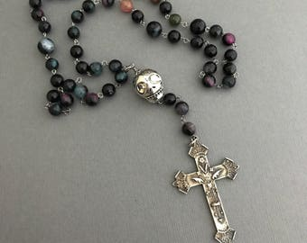 Catholic Rosary, Gothic Rosary, Dark Goth Rosary in Wine Gemstones & Steel, Gemstone Rosary, Protection Necklace