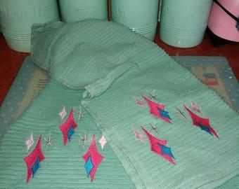 Pair of Reproduction Mid Century tea towels, Atomic Diamonds design