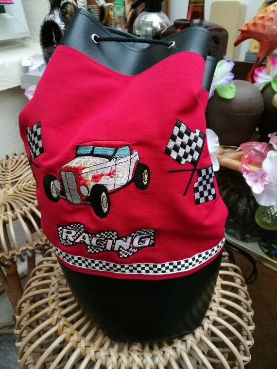 29861e3830e9 1950 s inspired Large Hot Rod racing embroidered Duffle