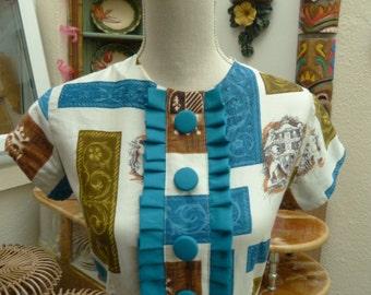 Original Vintage Cute Heraldic novelty print 50's / 60's shirt waister dress!