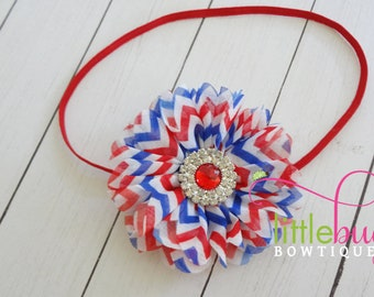 Red White Blue Headband, Girls 4th of July Headband, Bow Headband, USA Headband, Memorial Day Headband, Baby Girl Headband, 4th July