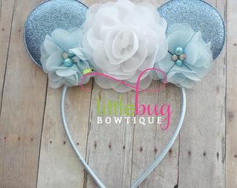 Mouse Headband, White Headband, Baby Blue Headband, Headband, Holiday Glitter Headband,  Birthday Headband,Headband, Babies, Girls