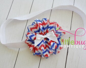 Red White Blue Headband, Girls 4th of July Headband, Bow Headband, USA Headband, Memorial Day Headband, Baby Girl Headband, 4th July Bow
