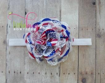 Red White Blue Headband, Red White Blue Hair Bow, America Headband, 4th of July, Flag, Baby Girl Headband, Memorial Day Headband, USA Bow