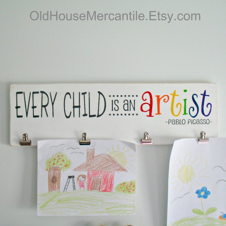 Every Child is an Artist Wooden Sign with Clips Children's image 0