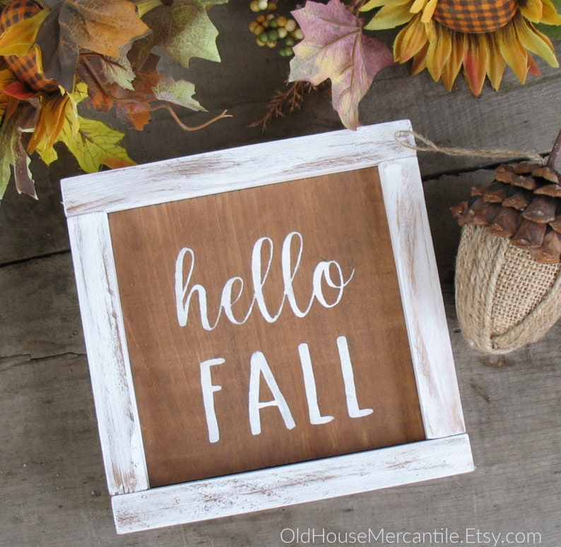 Hello Fall sign mini sign wooden sign farmhouse sign image 0