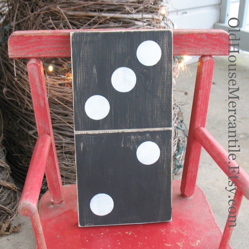 Domino  hand painted  antique white on black  hand made  image 0