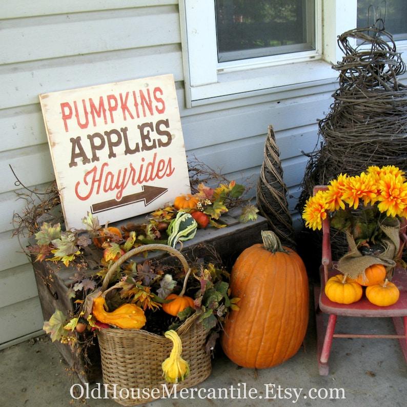 18x18 Pumpkins Apples Hayrides Fall Autumn Thanksgiving image 0