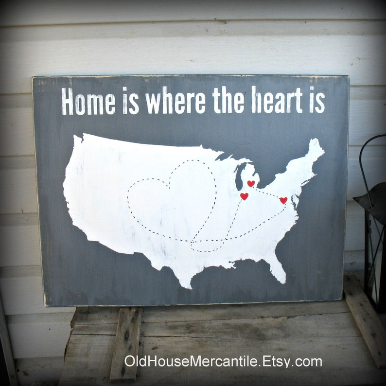 Where To Buy A Map Of The United States.Usa Map Home Is Where The Heart Is Personalized Custom Etsy