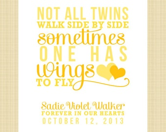 Not All Twins Walk Side by Side... - DIGITAL Memorial Print (miscarriage, stillborn, infant, child, twin loss)