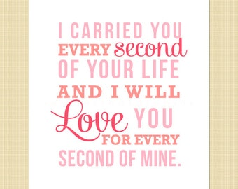 I carried you every second of your life- Digital Memorial Print (miscarriage, stillborn, infant, child loss)