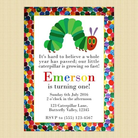 The Very Hungry Caterpillar Birthday Invitation Card Hungry Etsy