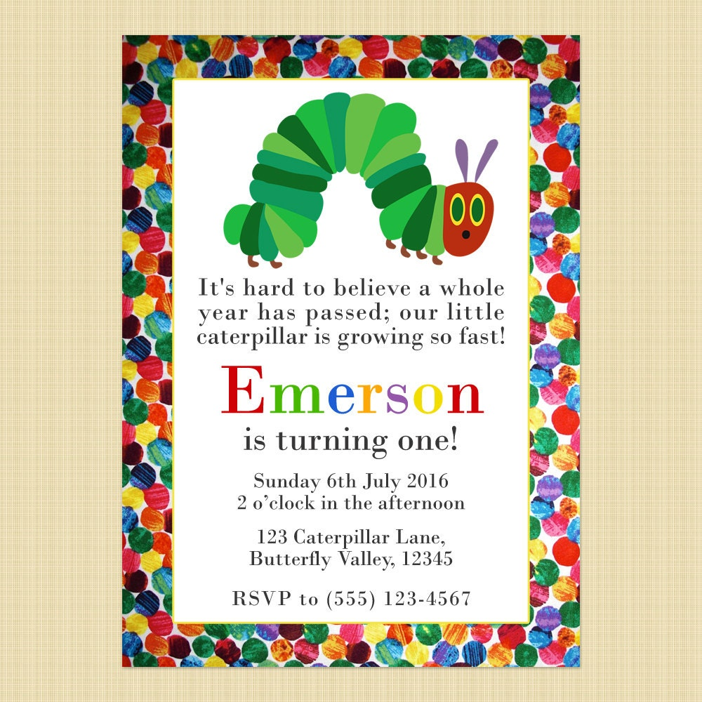 The Very Hungry Caterpillar birthday invitation card Hungry | Etsy