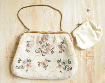 1930's  French Caviar Bead Clutch  | White and Pastel Floral Handbag