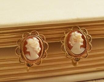 1950's Petite Cameo Earrings | 14 KT Gold Overlay Earrings