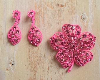 1960's Hot Pink Metal Flower Brooch and Earring Set   Pink Rhinestone Brooch