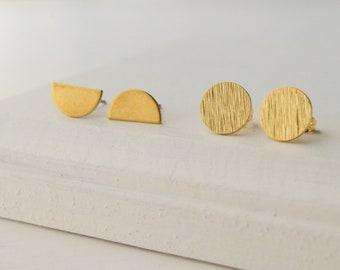 SALE Geometric Earrings   Circle and Crescent Earrings   Minimalist Earrings   Stud Earrings   Simple Studs